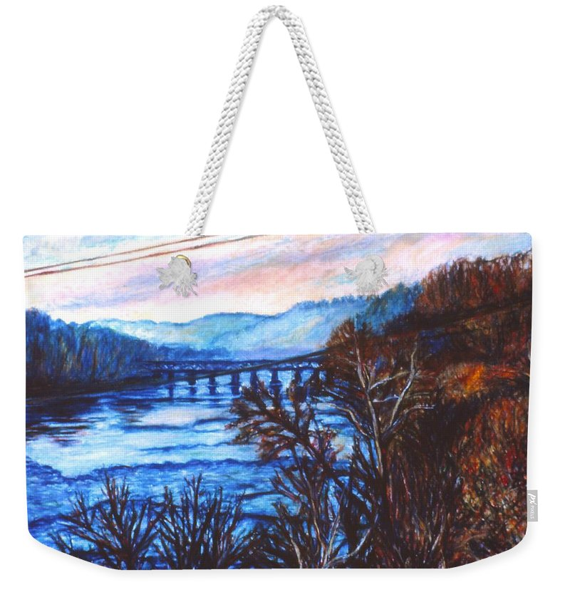 New River Trestle Weekender Tote Bag featuring the painting New River Trestle In Fall by Kendall Kessler