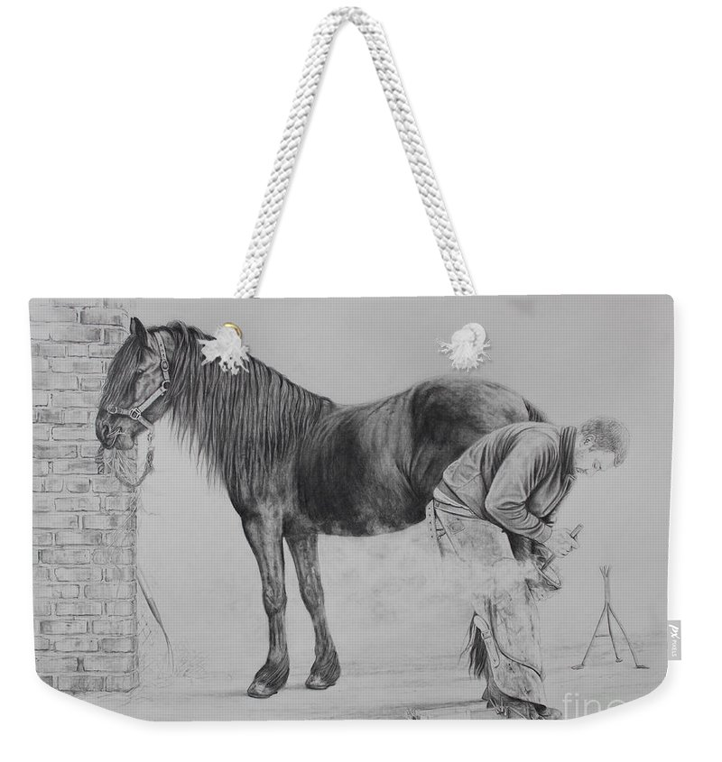 Farrier Weekender Tote Bag featuring the drawing New Shoes by Caroline Collinson