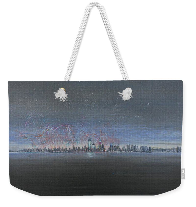 New York City Weekender Tote Bag featuring the painting New Year New York 2013 by Jack Diamond