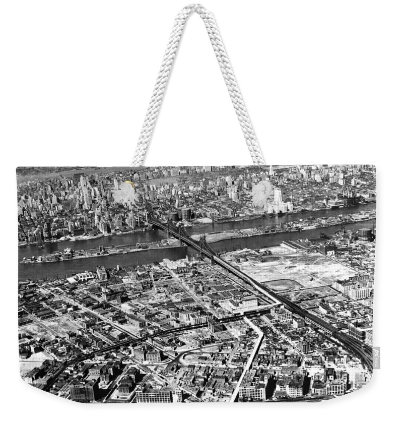 1937 Weekender Tote Bag featuring the photograph New York 1937 Aerial View by Underwood Archives