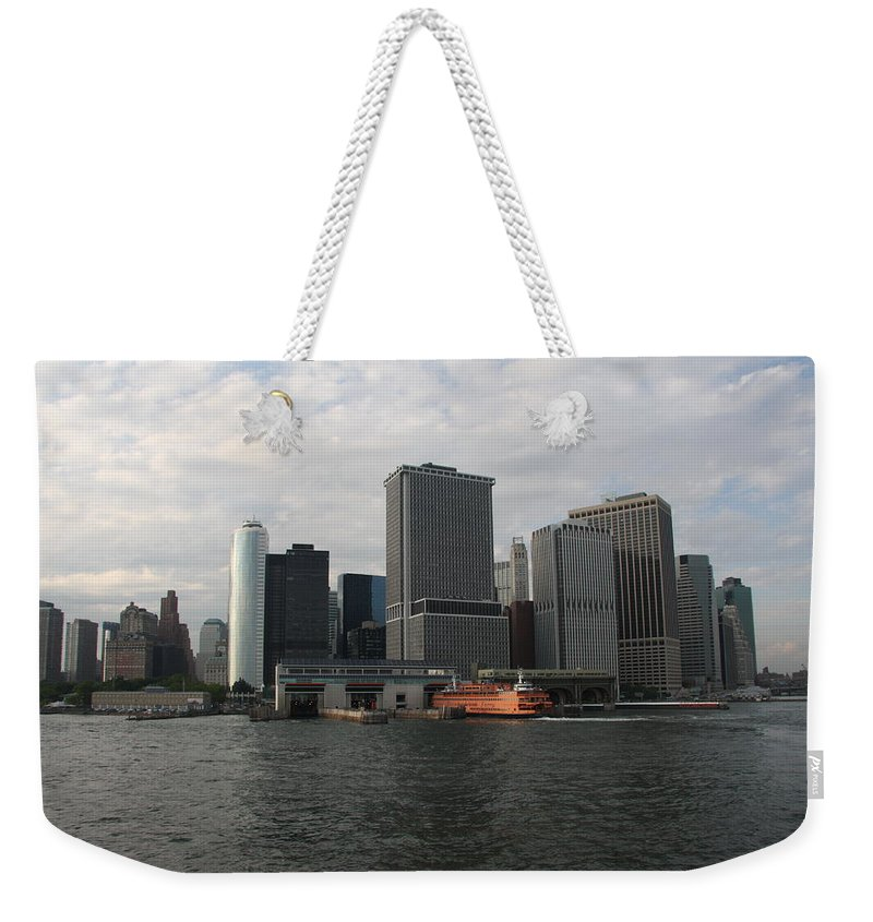 New York Weekender Tote Bag featuring the photograph New York And Staaten Island Ferry by Christiane Schulze Art And Photography