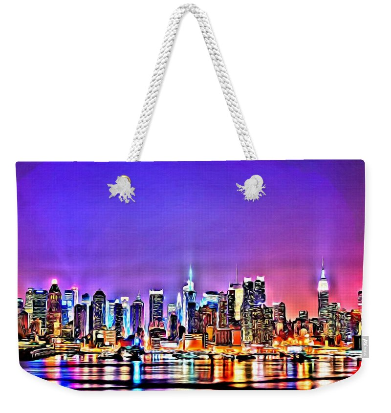 Black Weekender Tote Bag featuring the painting New York At Night by Florian Rodarte