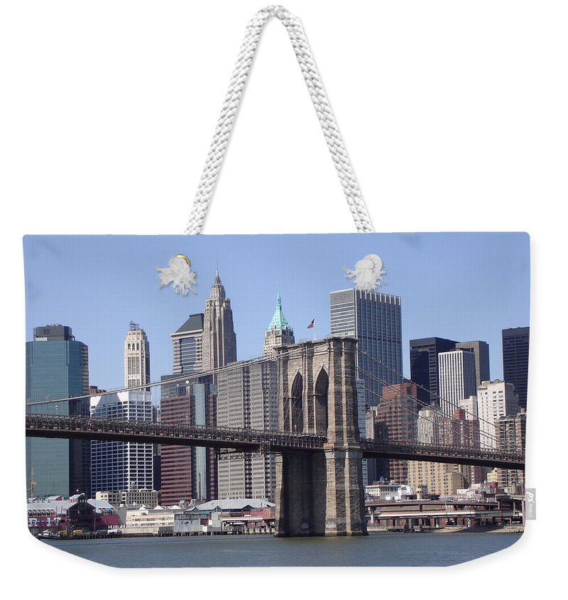 Bridge Weekender Tote Bag featuring the photograph New York Bridge 3 by Lovina Wright