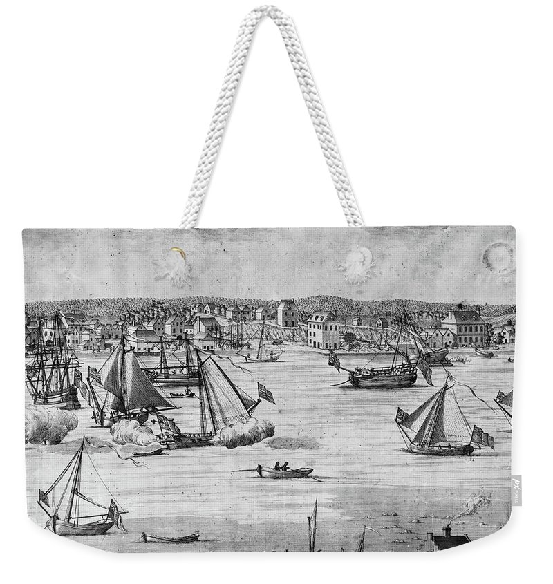 1717 Weekender Tote Bag featuring the painting New York City, 1717 by Granger
