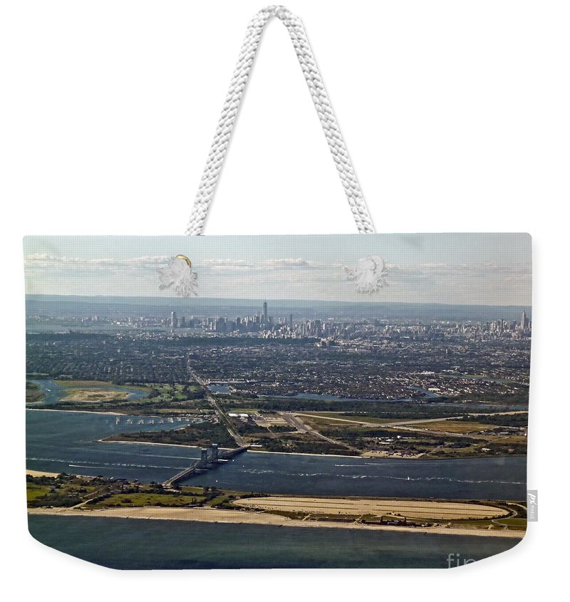 Aerial Weekender Tote Bag featuring the photograph New York City by Howard Stapleton