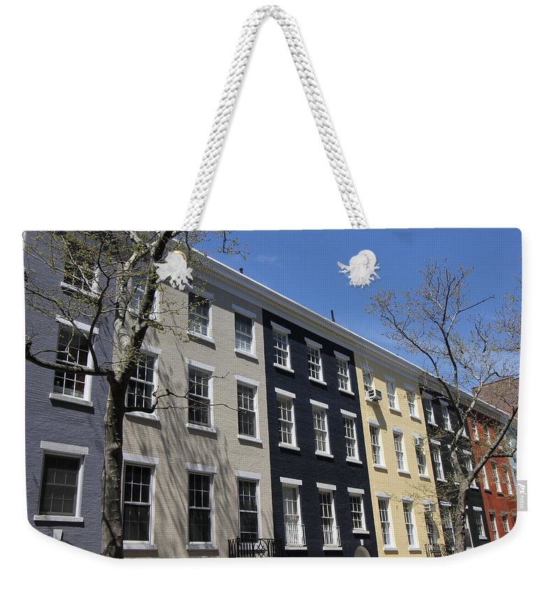 Rainbow Row Weekender Tote Bag featuring the photograph New York City Rainbow Row by Allen Beatty
