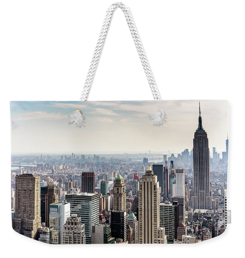 Scenics Weekender Tote Bag featuring the photograph New York City Skyline by Denise Panyik-dale