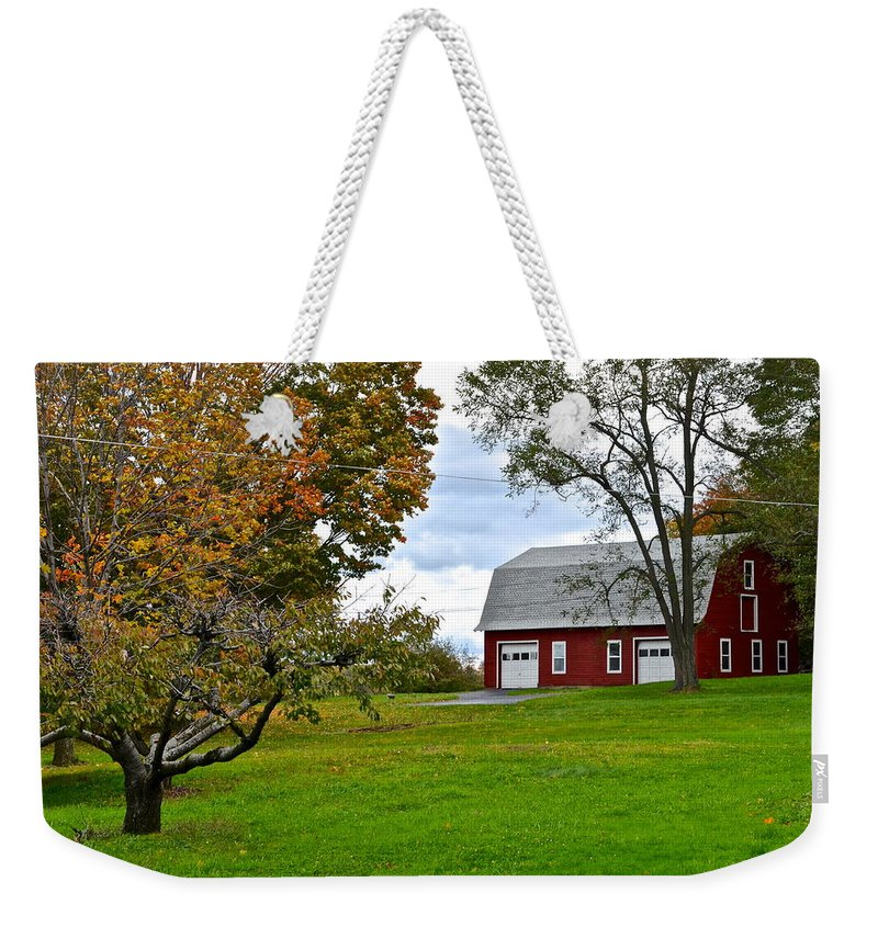 New Weekender Tote Bag featuring the photograph New York Farm by Frozen in Time Fine Art Photography