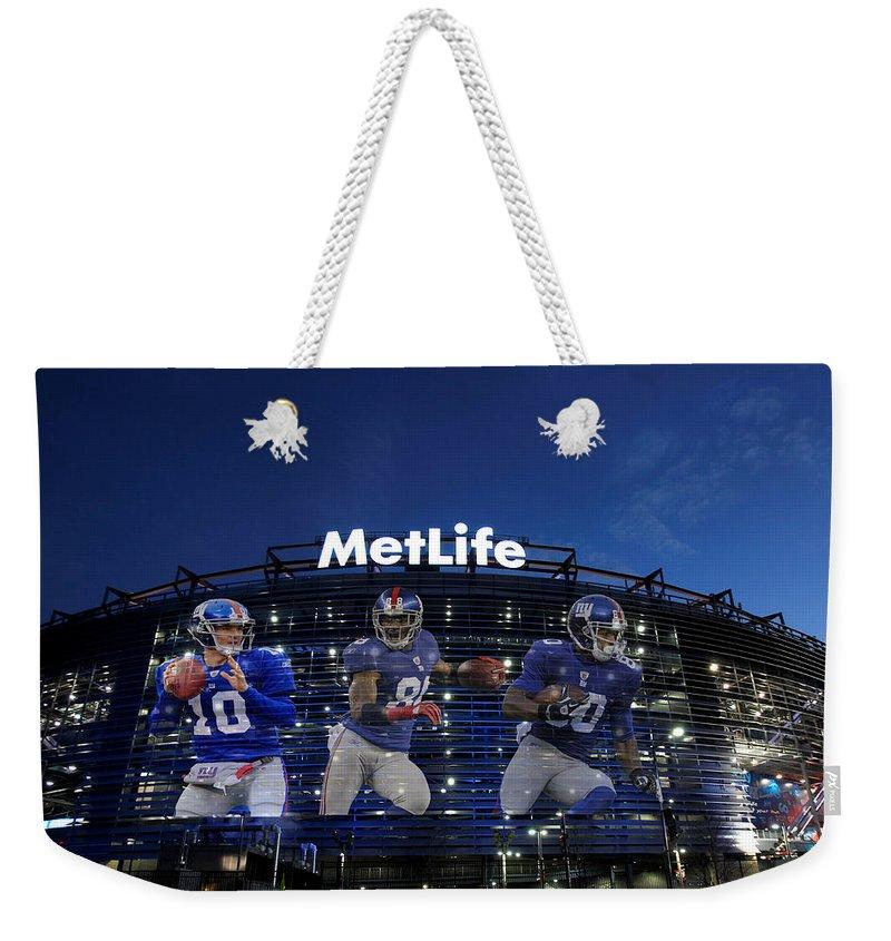Giants Weekender Tote Bag featuring the photograph New York Giants Metlife Stadium by Joe Hamilton