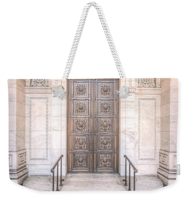 Clarence Holmes Weekender Tote Bag featuring the photograph New York Public Library Entrance I by Clarence Holmes