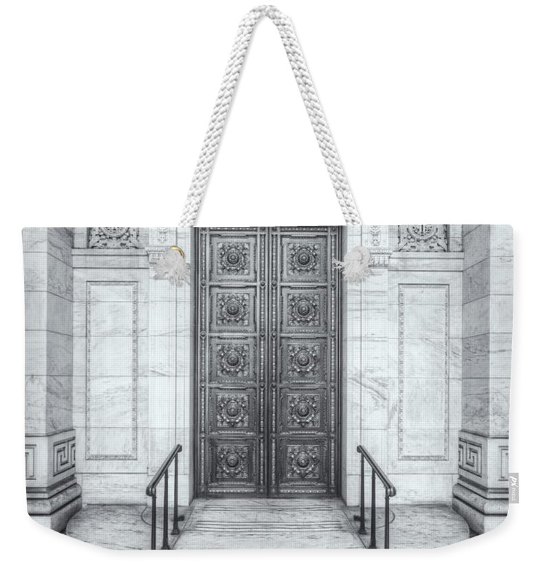 Clarence Holmes Weekender Tote Bag featuring the photograph New York Public Library Entrance II by Clarence Holmes