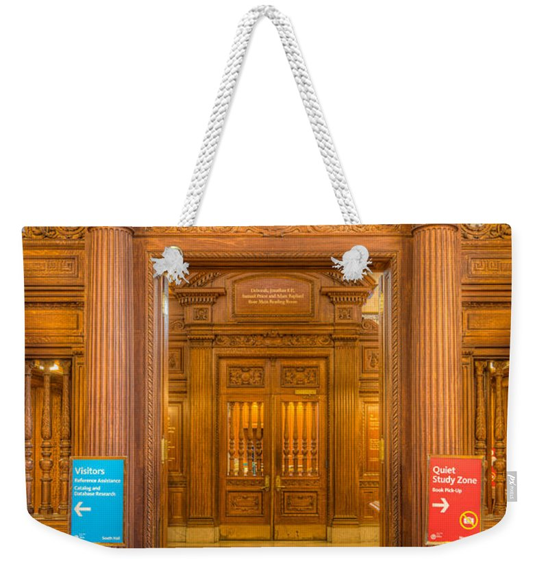 Clarence Holmes Weekender Tote Bag featuring the photograph New York Public Library Main Reading Room Entrance I by Clarence Holmes