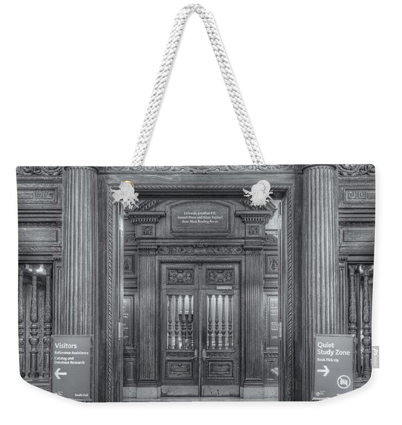 Clarence Holmes Weekender Tote Bag featuring the photograph New York Public Library Main Reading Room Entrance II by Clarence Holmes