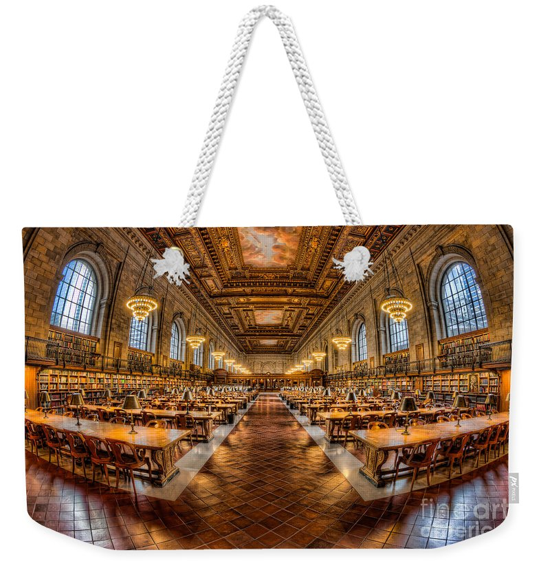 Clarence Holmes Weekender Tote Bag featuring the photograph New York Public Library Main Reading Room Vii by Clarence Holmes