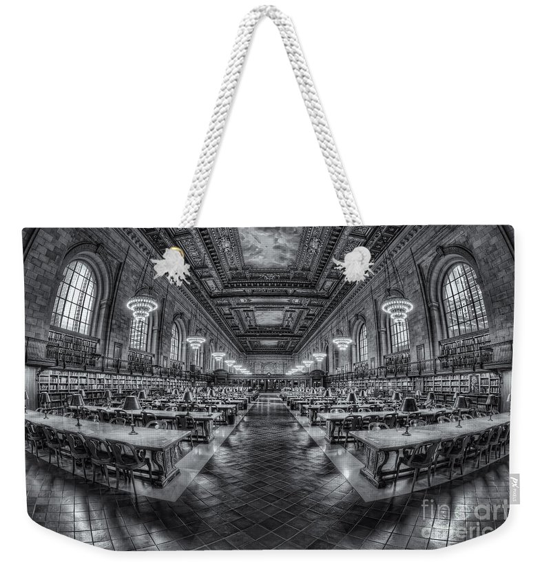 Clarence Holmesamerica Weekender Tote Bag featuring the photograph New York Public Library Main Reading Room Viii by Clarence Holmes