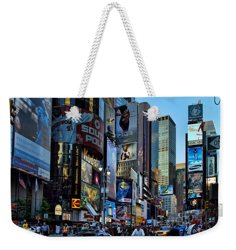 American Flag Weekender Tote Bag featuring the photograph New York Rush Hour by New York