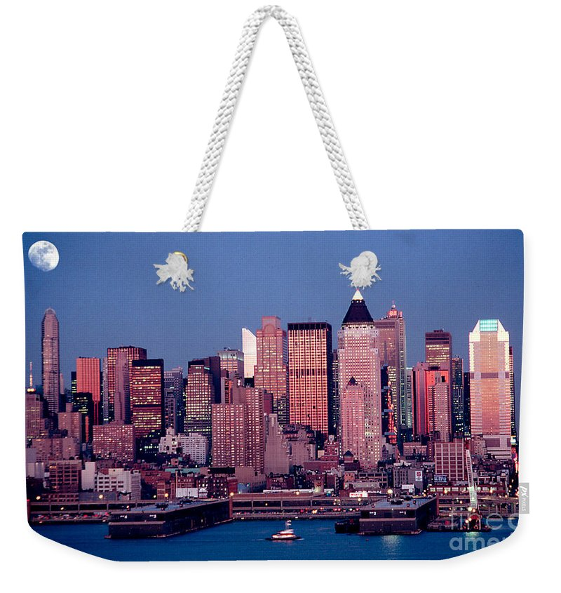 Nyc Weekender Tote Bag featuring the photograph New York Skyline At Dusk by Anthony Sacco
