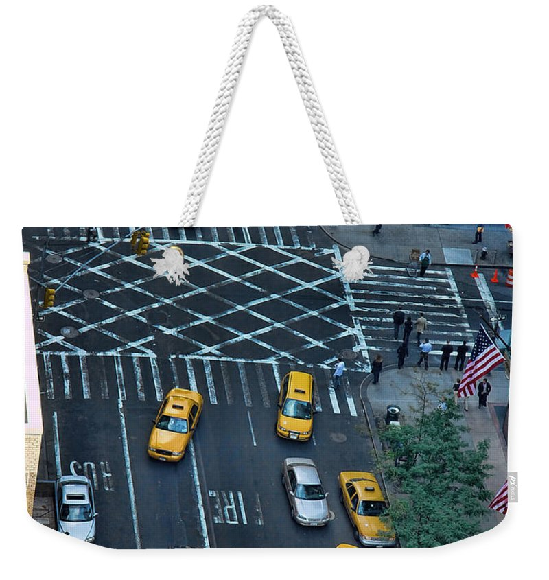 American Flag Weekender Tote Bag featuring the photograph New York Taxi Rush Hour by New York