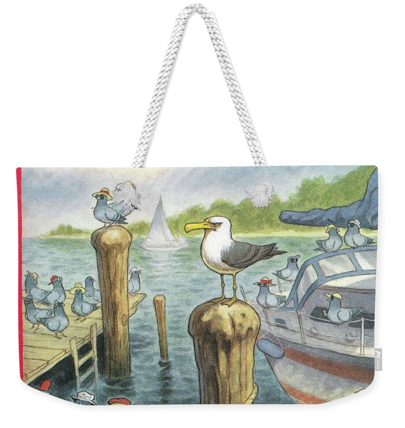 Labor Day Weekender Tote Bag featuring the painting New Yorker September 5th, 1994 by Peter de Seve