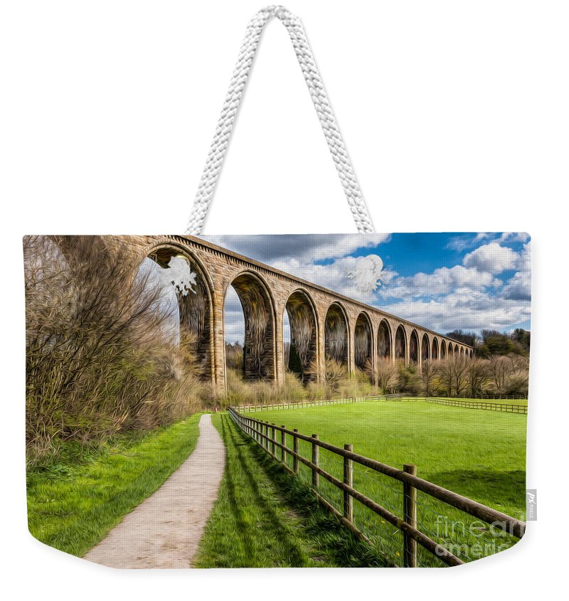 Arch Weekender Tote Bag featuring the photograph Newbridge Rail Viaduct by Adrian Evans