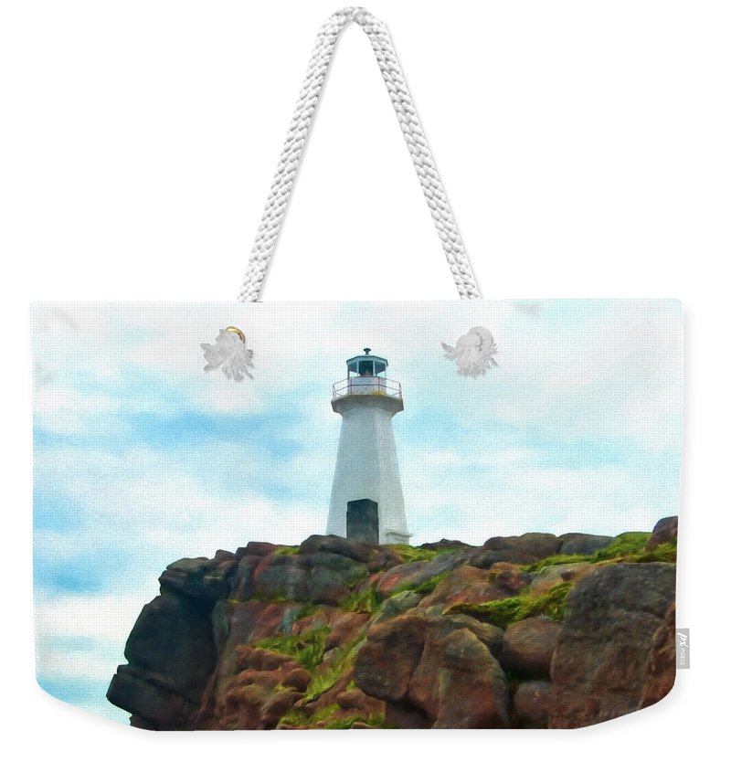 Atlantic Weekender Tote Bag featuring the photograph Lighthouse On Cliff by Boss Photographic