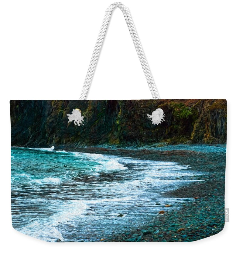 Atlantic Weekender Tote Bag featuring the photograph Rocky Beach by Boss Photographic