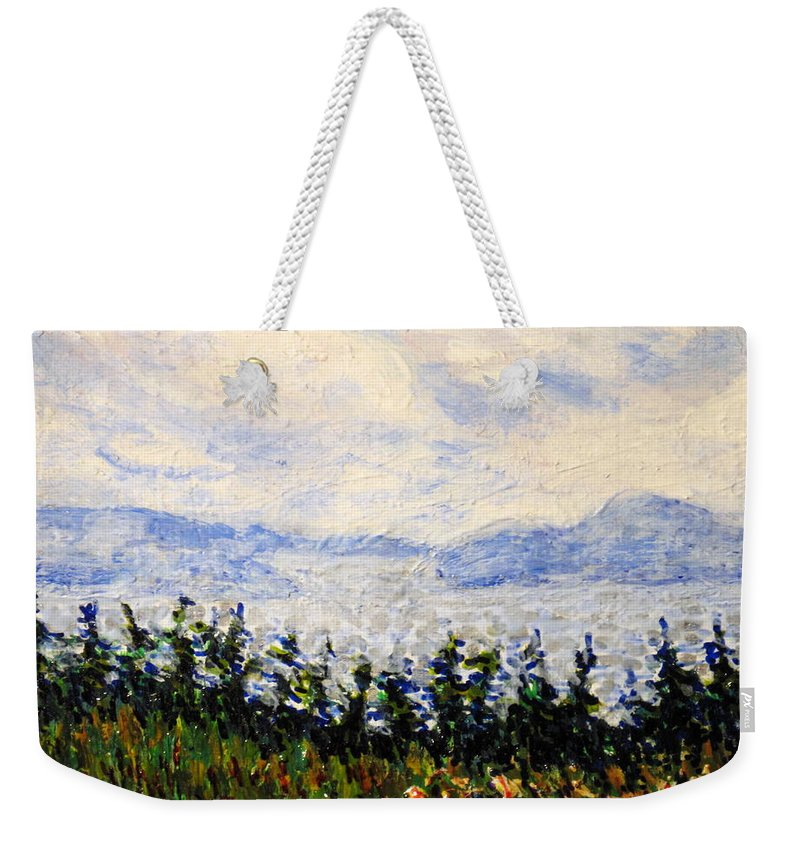 Newfoundland Weekender Tote Bag featuring the painting Newfoundland Up The West Coast by Ian MacDonald