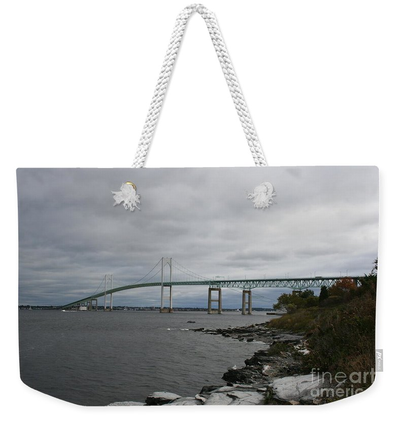 Bridge Weekender Tote Bag featuring the photograph Newport Bridge - Rhode Island by Christiane Schulze Art And Photography