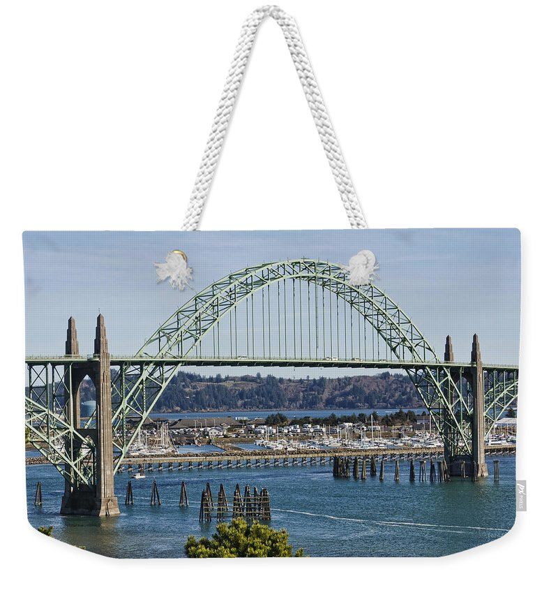 Newport Bridge Weekender Tote Bag featuring the photograph Newport Bridge by Wes and Dotty Weber