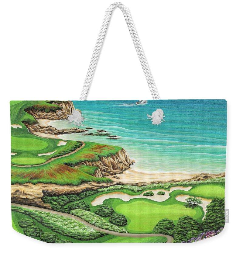Ocean Weekender Tote Bag featuring the painting Newport Coast by Jane Girardot