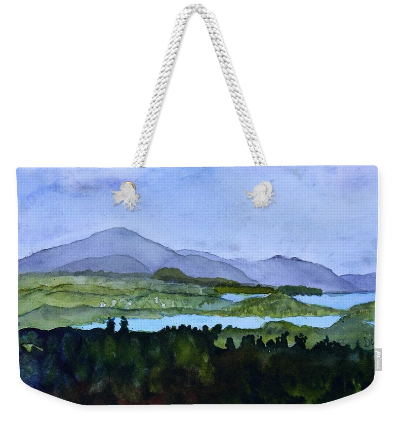 Newport Vt Weekender Tote Bag featuring the painting Newport From Brownington Lookout by Donna Walsh
