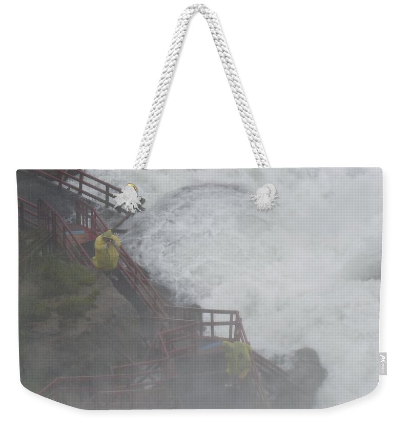 Niagara Weekender Tote Bag featuring the photograph Niagara Falls - Cave Of The Winds by Rhonda Chase