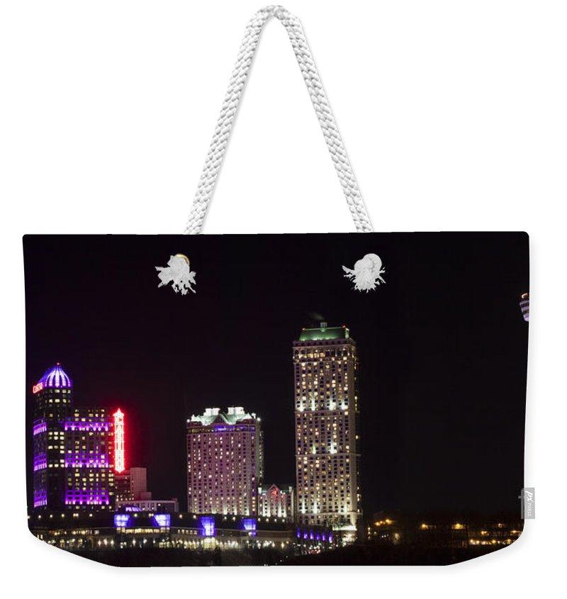 Niagara Falls Weekender Tote Bag featuring the photograph Niagara Falls Ontario Skyline by Darleen Stry