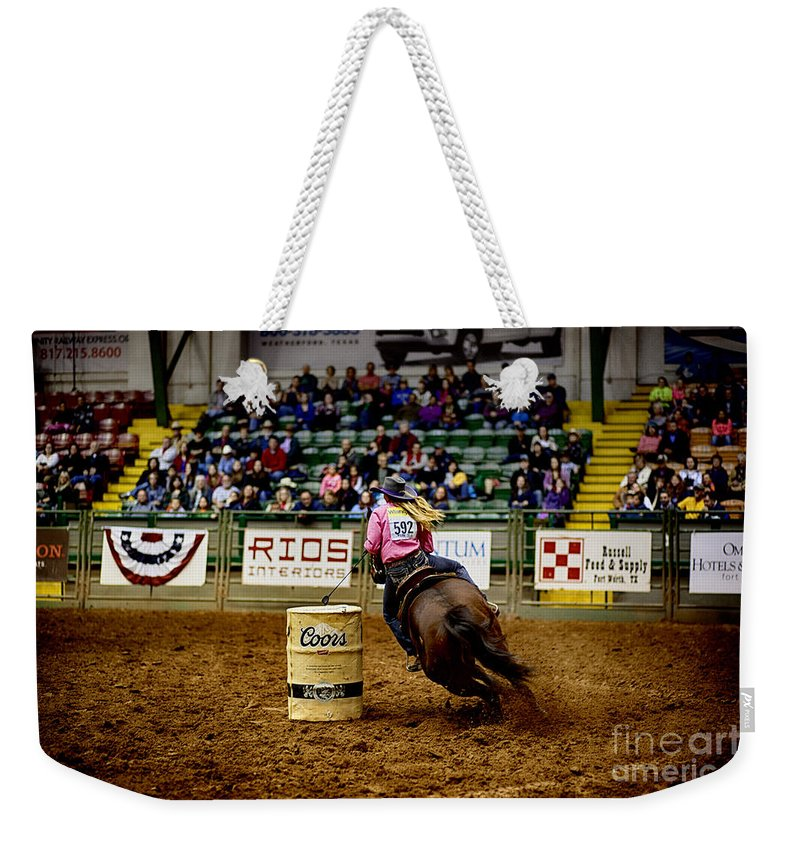 Night Weekender Tote Bag featuring the photograph Night At The Rodeo V23 by Douglas Barnard