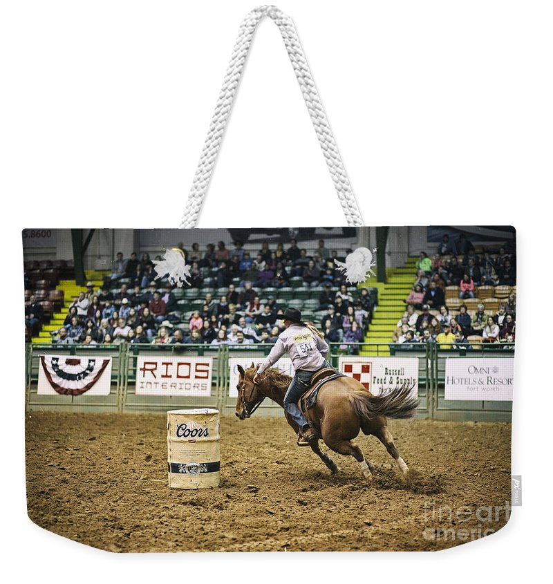 Night Weekender Tote Bag featuring the photograph Night At The Rodeo V25 by Douglas Barnard