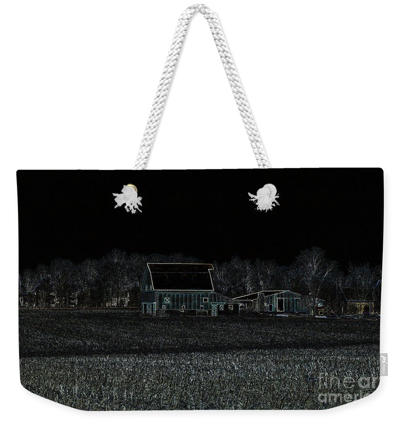 Indiana Weekender Tote Bag featuring the digital art Night Barns by Alys Caviness-Gober