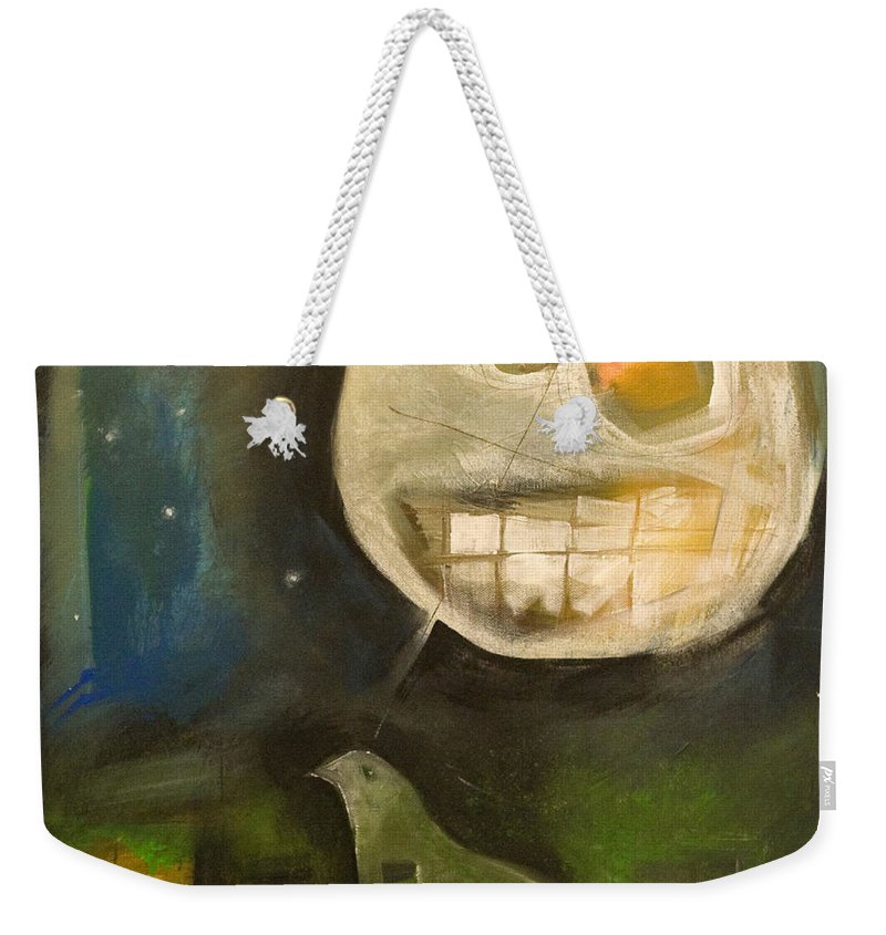 Moon Weekender Tote Bag featuring the painting Night Bird Harvest Moon by Tim Nyberg