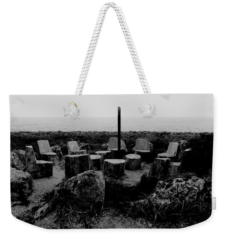 Black And White Weekender Tote Bag featuring the photograph Night Council by Amar Sheow