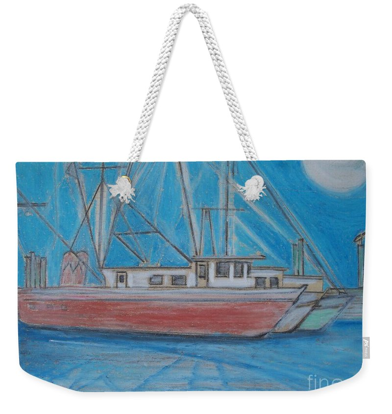 Night Weekender Tote Bag featuring the painting Night Fishing by Eric Schiabor