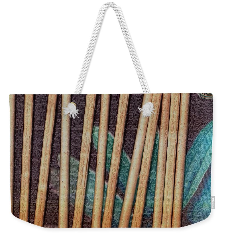 Bread-stick Weekender Tote Bag featuring the mixed media Night On The Bread Stick Planet by Pepita Selles