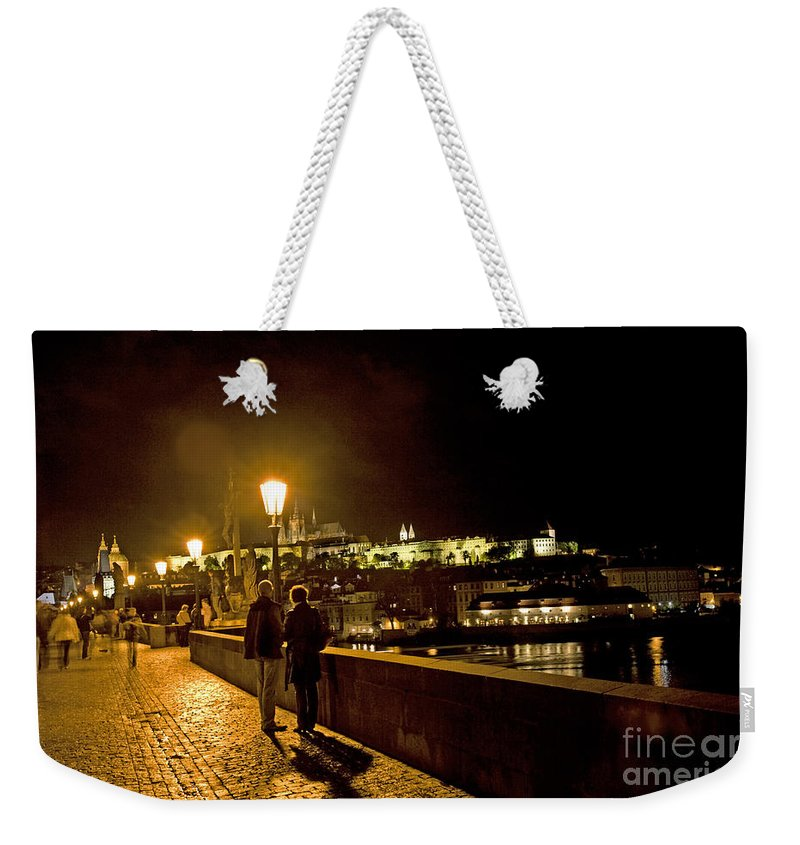Prague Weekender Tote Bag featuring the photograph Night On The Charles Bridge by Madeline Ellis