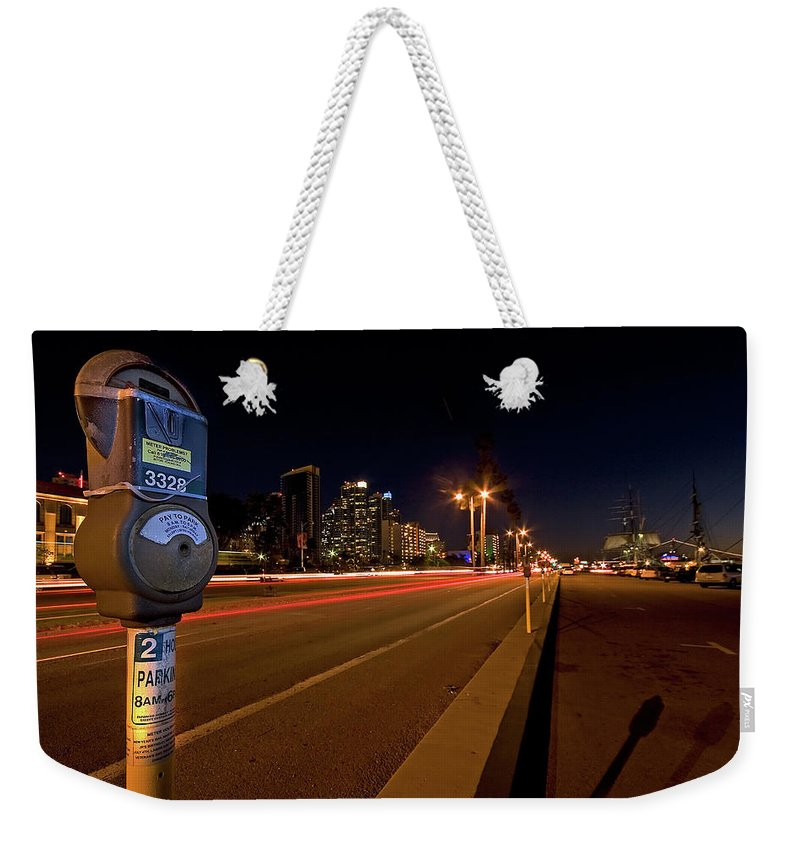 San Diego Weekender Tote Bag featuring the photograph Night Parking Meter by Peter Tellone