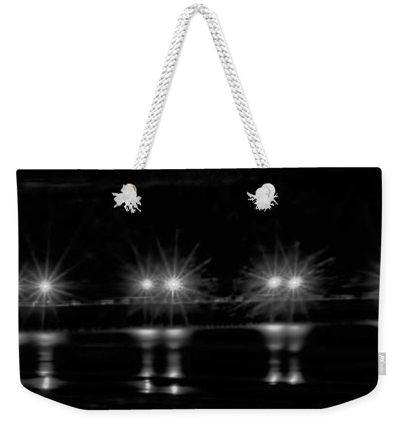Night Weekender Tote Bag featuring the photograph Night Pier Black And White by Photos By Cassandra