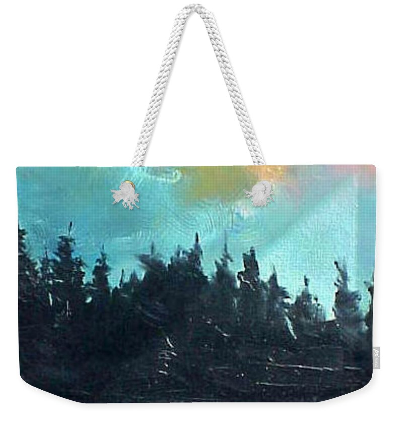 Landscape Weekender Tote Bag featuring the painting Night river by Sergey Bezhinets