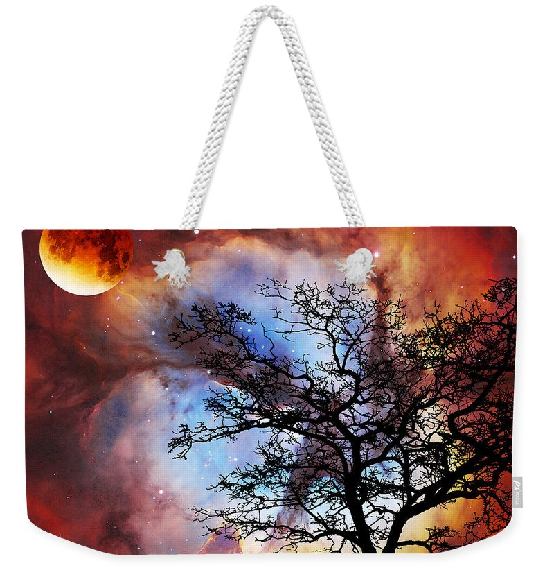 Abstract Weekender Tote Bag featuring the painting Night Sky Landscape Art By Sharon Cummings by Sharon Cummings