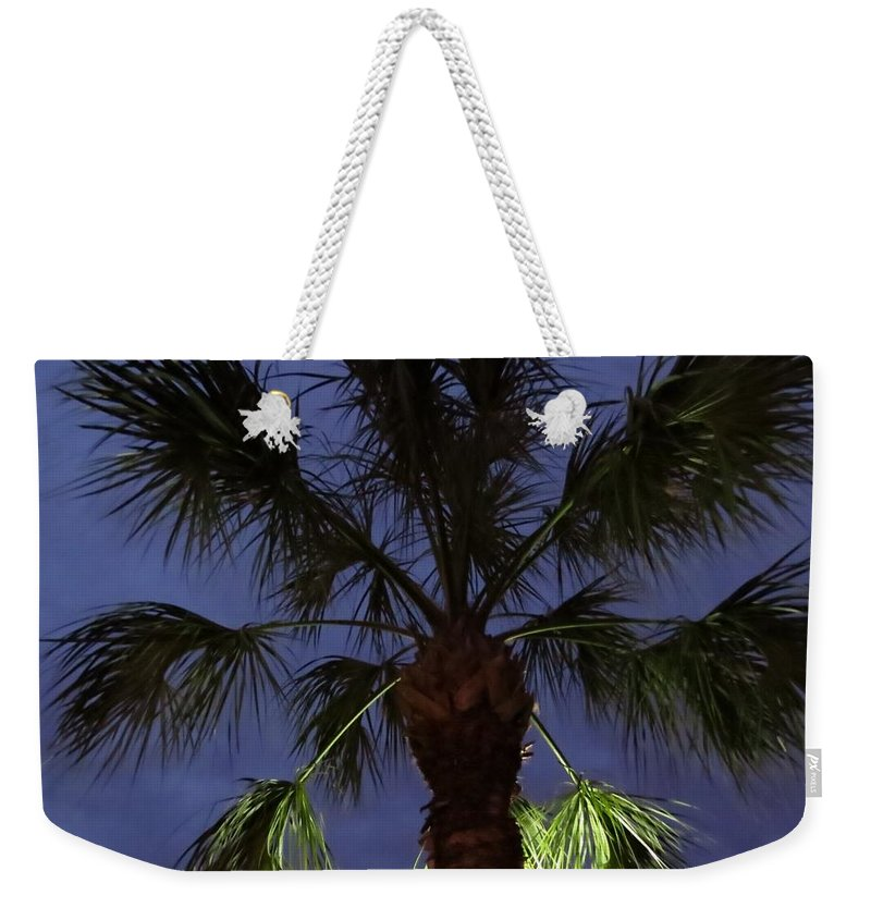Palm Weekender Tote Bag featuring the photograph Night Sky Through The Palm by Zina Stromberg
