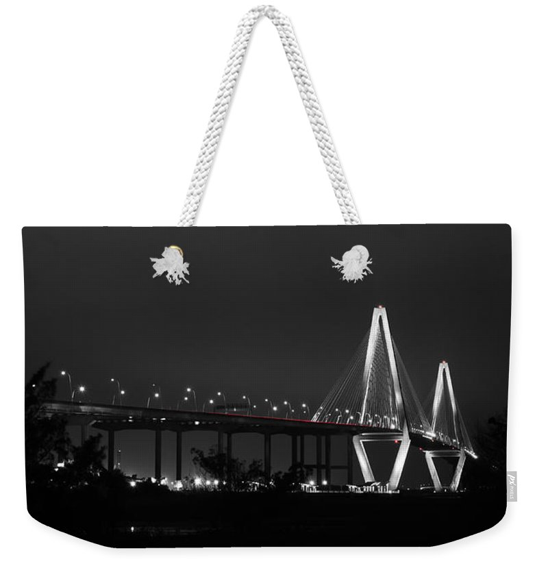Charleston Weekender Tote Bag featuring the photograph Night Time On The Bridge by Andrew Crispi