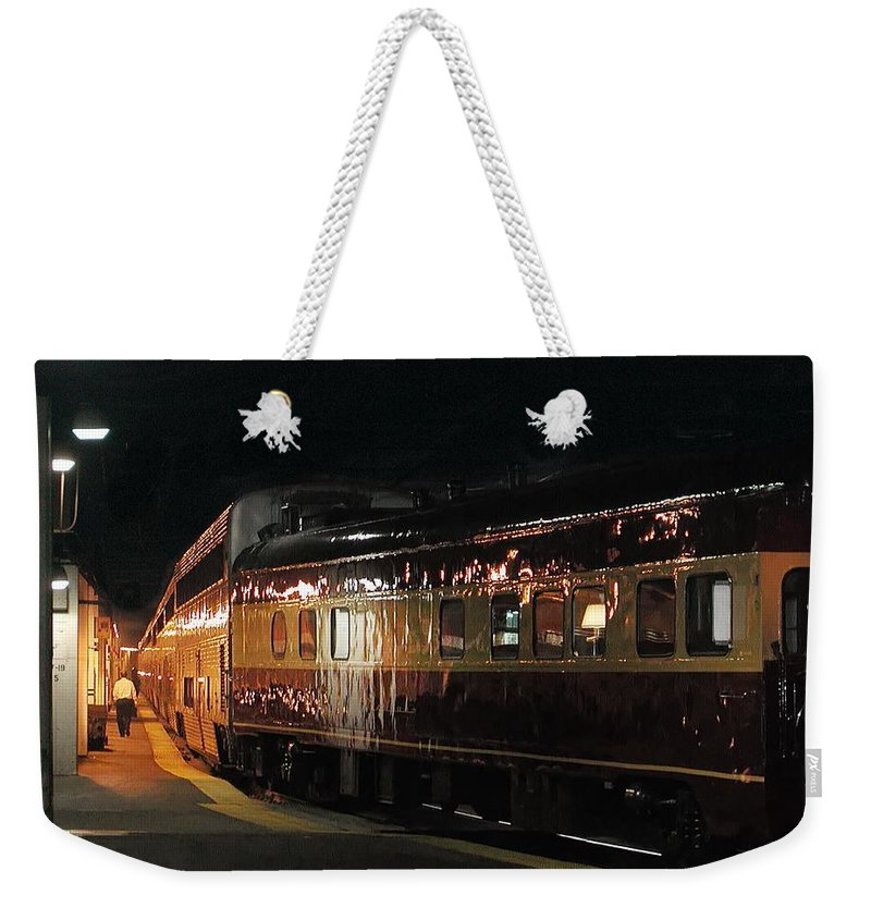 Station Weekender Tote Bag featuring the photograph Night Train by Steve Ondrus