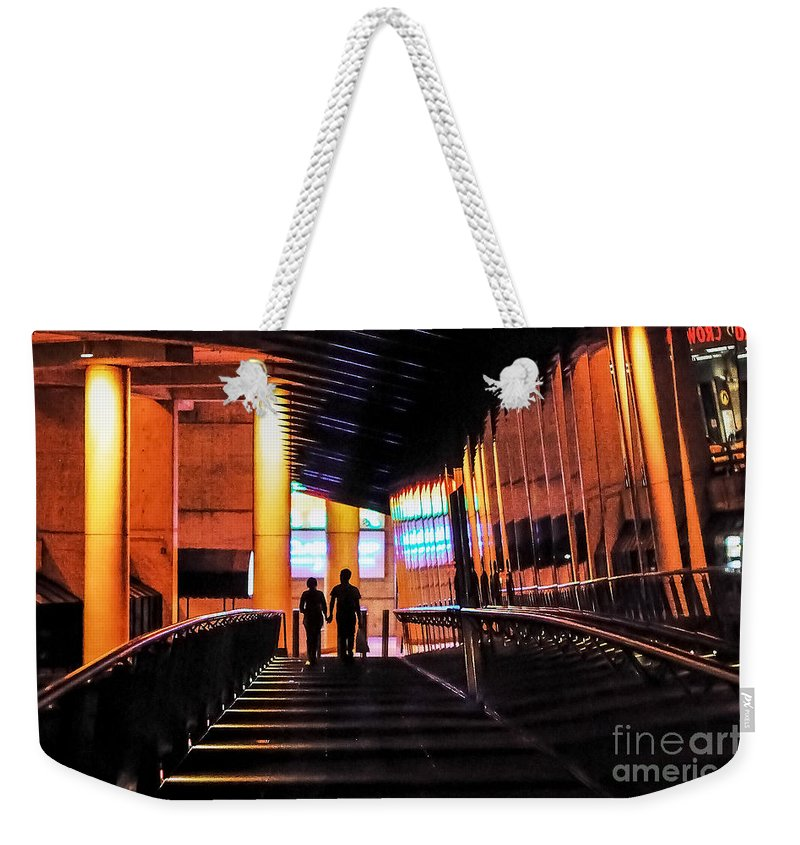 Melbourne Weekender Tote Bag featuring the photograph Night Walk by Ray Warren