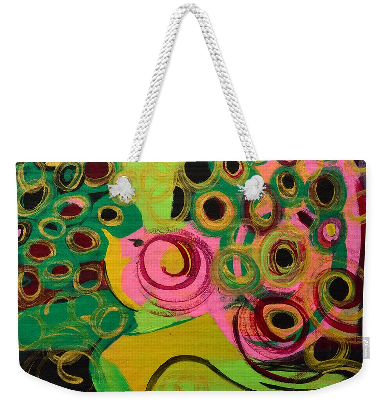 Bird Weekender Tote Bag featuring the painting Nightbird by Donna Blackhall
